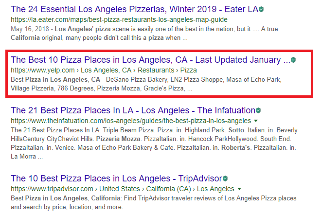 yelp keyword search listing ranks high