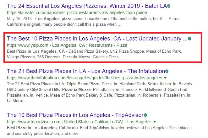 yelp keyword search listing ranks high
