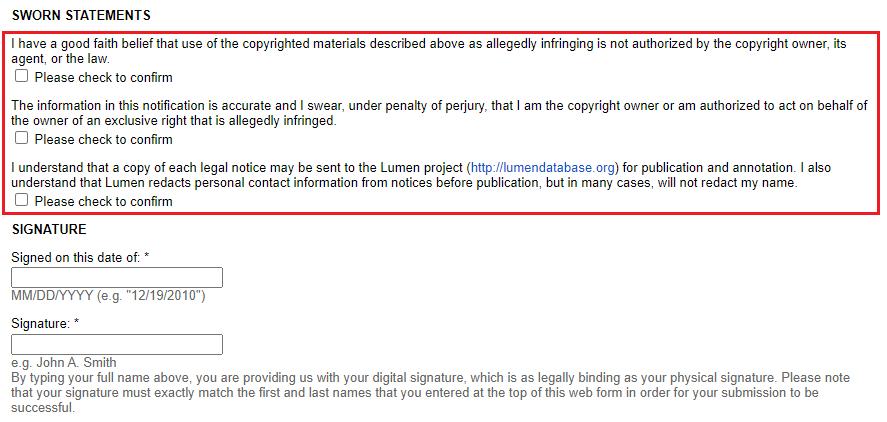 google copyright claim sworn statements