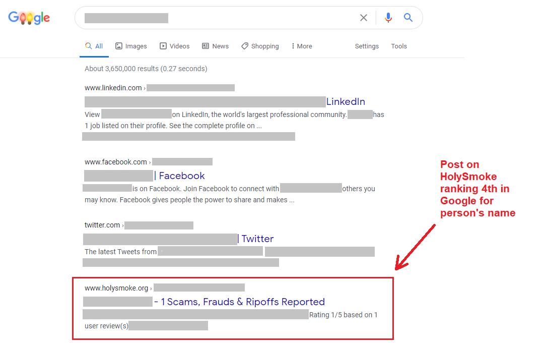 holysmoke ranking in google