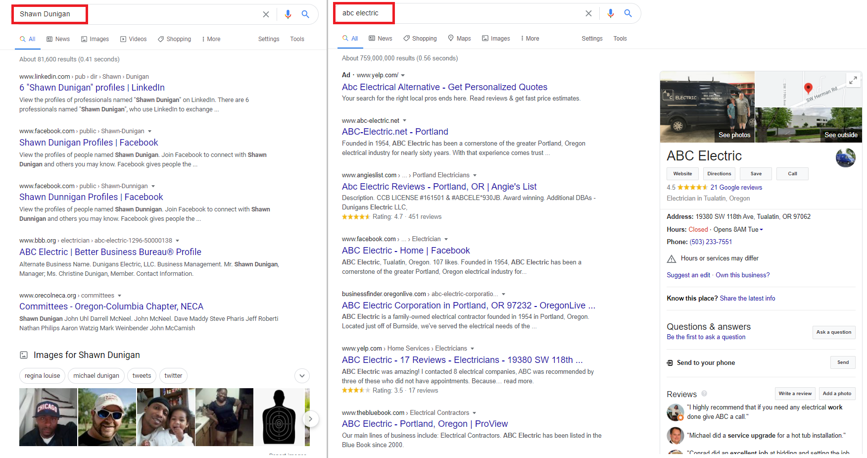 comparison of business and personal google search results