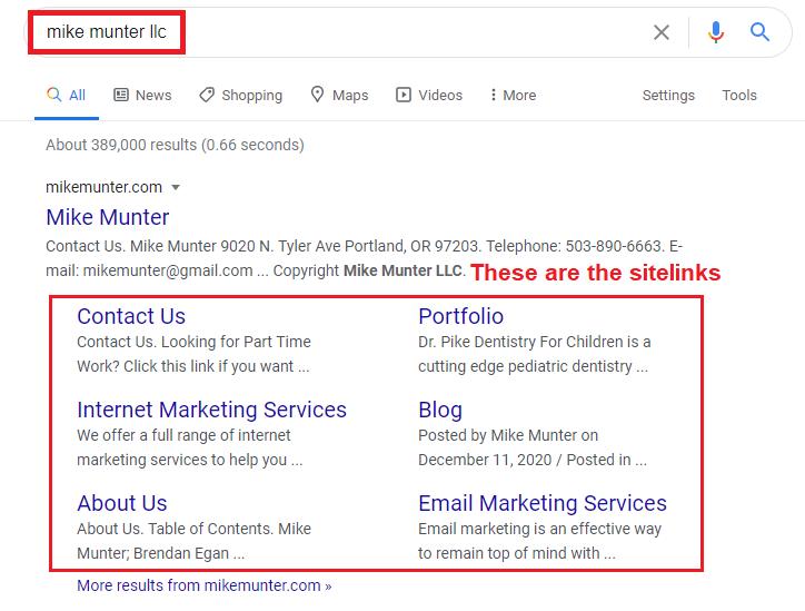 example of sitelinks - affordable reputation management