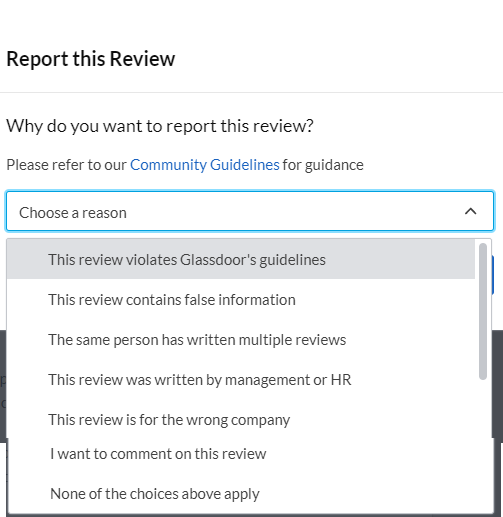 glassdoor - reasons to report review - affordable reputation management
