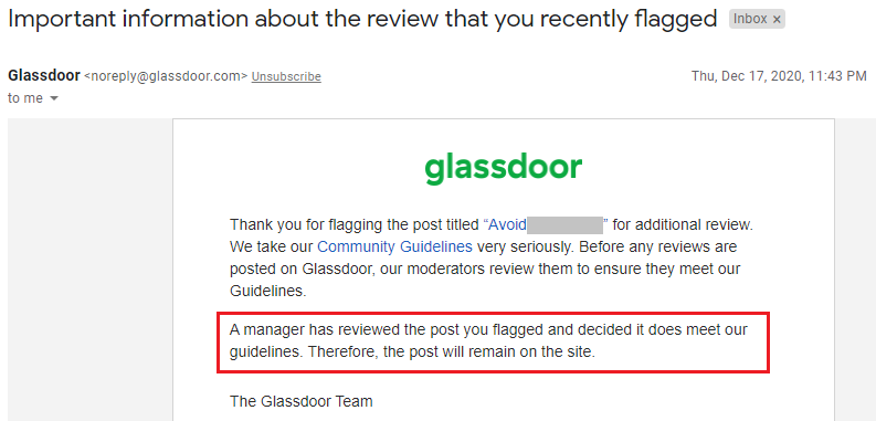 glassdoor review DOES meet our guidelines